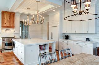 简约风格客厅白色室内开放式厨房最新水晶灯效果图