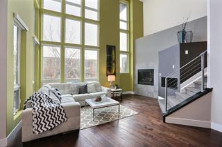 现代简约风格单身公寓厨房时尚卧室装饰家装地板效果图
