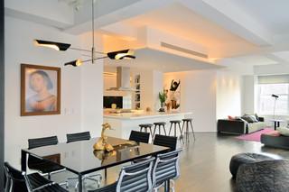 现代简约风格厨房老年公寓时尚家居装饰大理石餐桌效果图