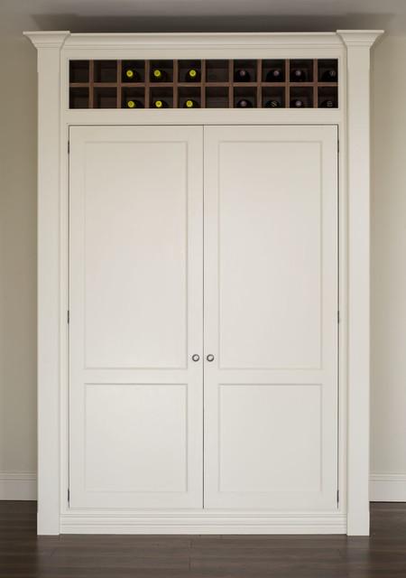 现代简约风格卧室白色家具半开放式厨房收纳柜效果图