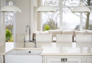 现代简约风格卧室白色开放式厨房餐厅卧室吸顶灯效果图