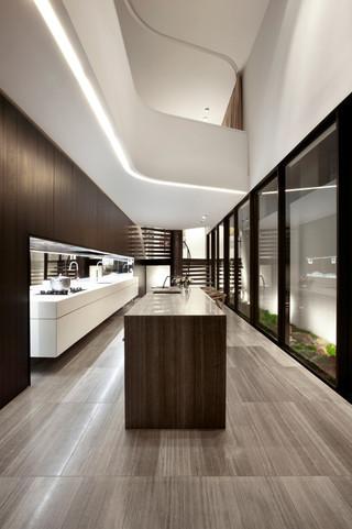 复式公寓简洁开放式厨房餐厅效果图