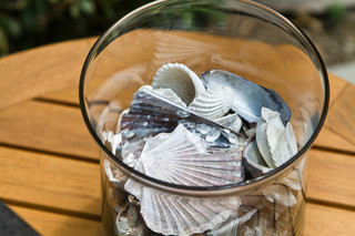将海边景致搬回家很难吗 一瓶贝壳装饰地中海风庭院即可