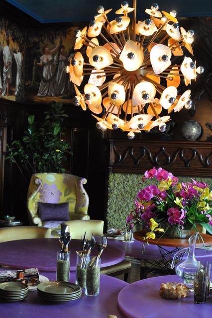 紫色新古典风格餐厅设计  浪漫的紫