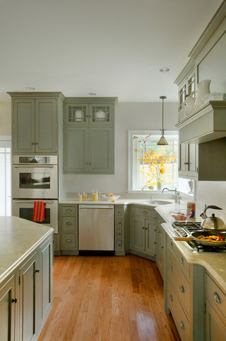 时尚室内绿色橱柜6平米厨房橱柜图片