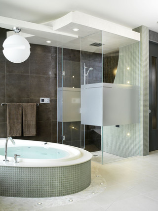 时尚家居装饰开放式厨房独立式浴缸效果图