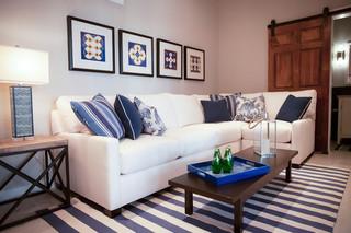 小型公寓蓝色卧室卡座沙发图片