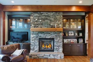 3层别墅奢华家具砖砌真火壁炉设计图图片