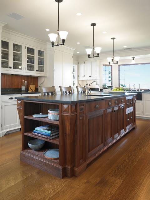稳重原木色小户型开放式厨房欧普照明吸顶灯效果图