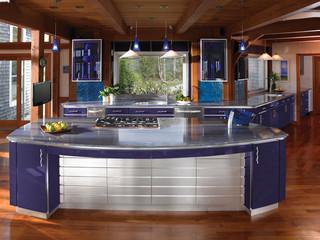 地中海风格室内稳重蓝色厨房开放式厨房客厅装修效果图