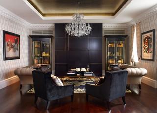 大户型客厅黑白装饰画最新水晶灯效果图