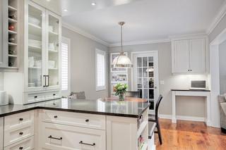 简欧风格简洁小户型开放式厨房大理石餐桌效果图