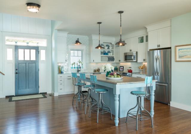 大户型客厅小清新绿色橱柜欧式开放式厨房装修图片高清图片