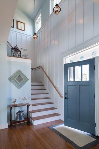 大户型客厅小清新绿色橱柜复式楼梯装修图片