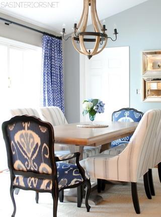 地中海风格室内三层小别墅艺术大理石餐桌效果图