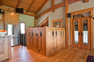 中式风格别墅复式大厅稳重客厅鞋柜装饰图片