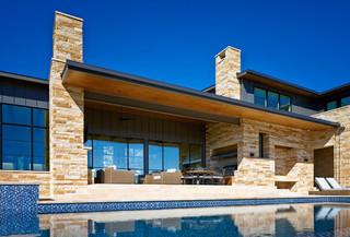 地中海风格客厅三层平顶别墅唯美蓝色厨房效果图