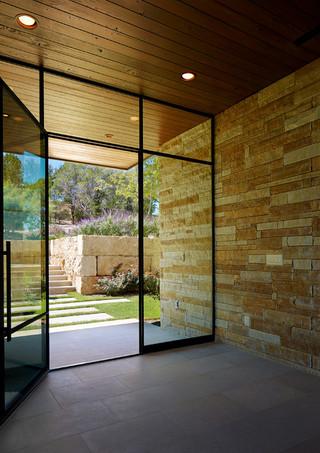 地中海风格室内一层别墅唯美客厅玻璃隔断设计