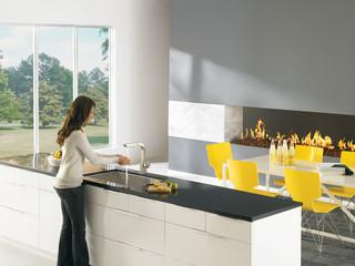 现代简约风格三层连体别墅乐活米黄色调墙壁效果图