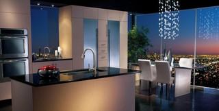 现代简约风格厨房一层半别墅乐活艺术玻璃背景墙效果图