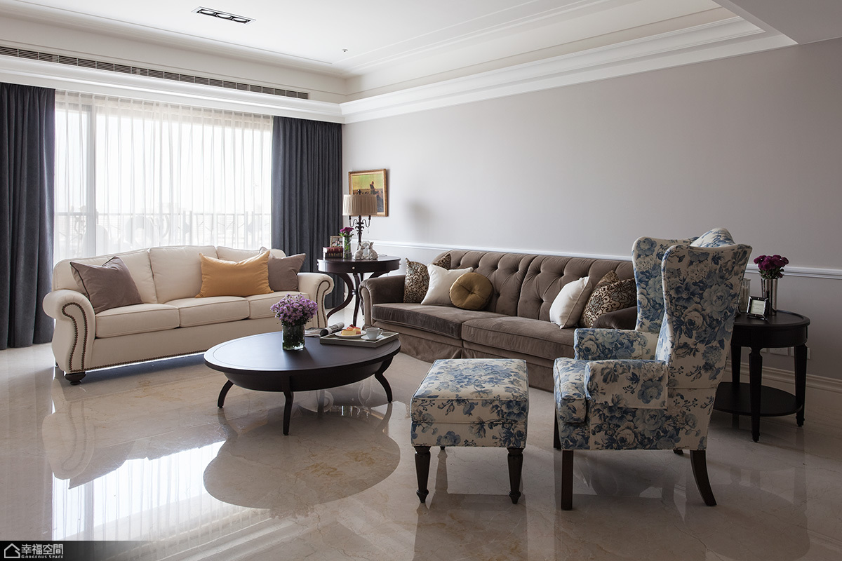 美式风格公寓古典沙发背景墙装修图片图片