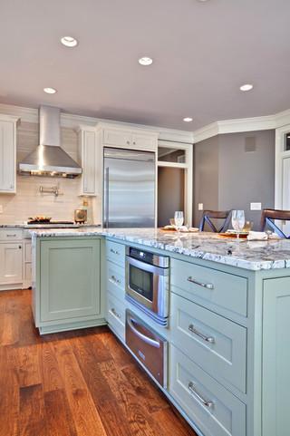 现代简约风格厨房唯美蓝色厨房富裕型装修效果图