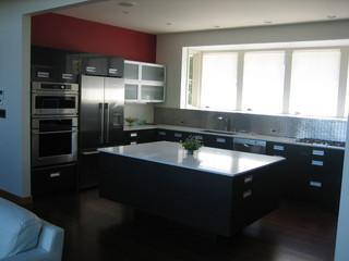 现代简约风格厨房三层别墅及豪华欧式客厅窗户效果图