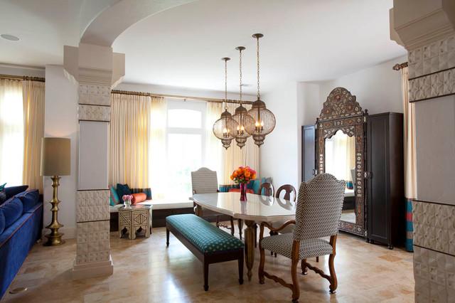 地中海风格室内200平米别墅豪华别墅实木餐桌效果图