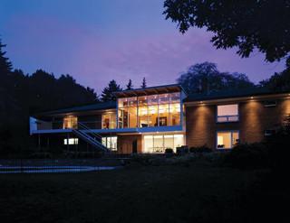 现代简约风格卧室3层别墅豪华房子客厅灯光效果图