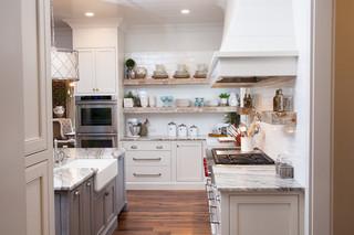 现代简约风格浪漫婚房布置富裕型厨房收纳架图片