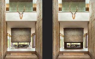现代美式风格三层独栋别墅浪漫卧室别墅外墙瓷砖效果图