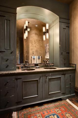 新古典风格卧室酒店式公寓古典卧室实木浴室柜效果图