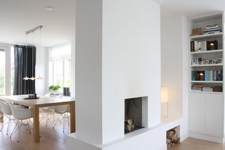 欧式简约风格300平别墅简洁厨房和餐厅装修效果图