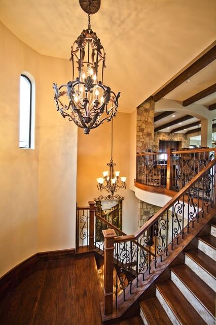 现代欧式风格三层平顶别墅中式古典家具旋转楼梯装修图片