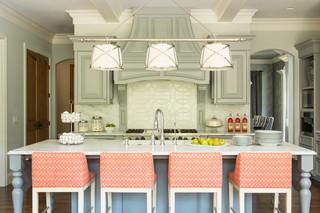 地中海风格客厅酒店式公寓可爱厨房和餐厅效果图