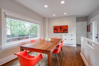 现代简约风格复式公寓大方简洁客厅中式餐桌效果图