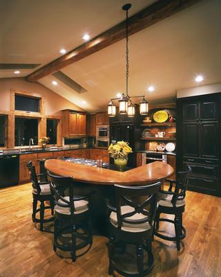 美式乡村风格卧室乡村别墅大气厨房餐厅客厅一体效果图