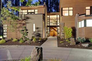现代简约风格卧室乡村别墅温馨装饰庭院围墙效果图