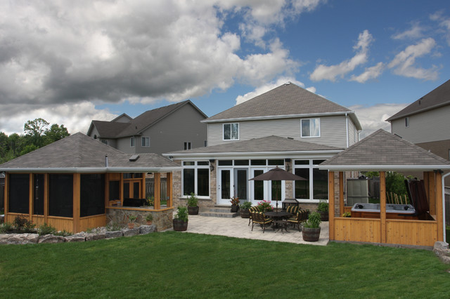地中海风格客厅三层平顶别墅奢华家具阳台花园装修效果图