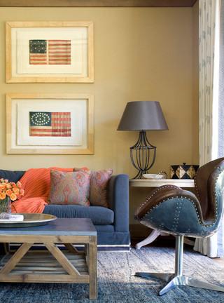 美式风格客厅2013别墅稳重两用沙发床图片