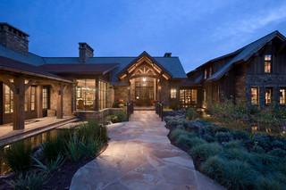 美式风格三层平顶别墅唯美走廊玄关效果图