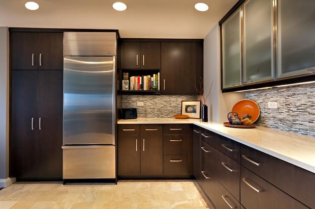 富裕型装修 公寓的开放式厨房