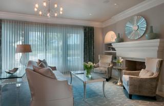 地中海风格室内三层小别墅浪漫婚房布置2014客厅窗帘装修图片