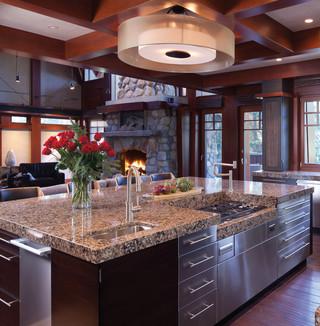 欧式风格单身公寓厨房简洁大理石餐桌图片