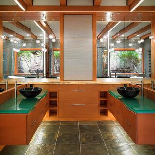 东南亚风格酒店式公寓浪漫卧室浴室柜效果图