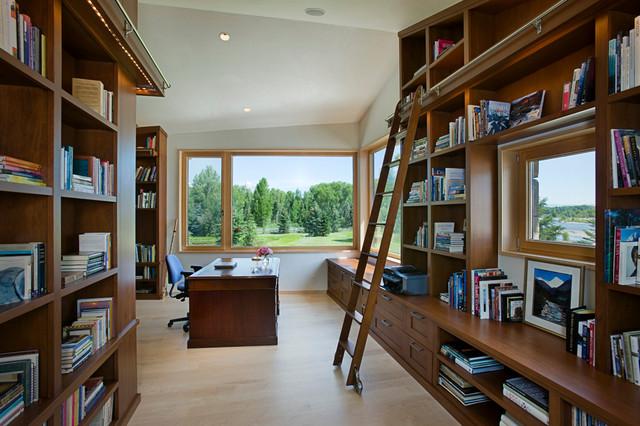 现代美式风格200平米别墅浪漫婚房布置阳台书架效果图