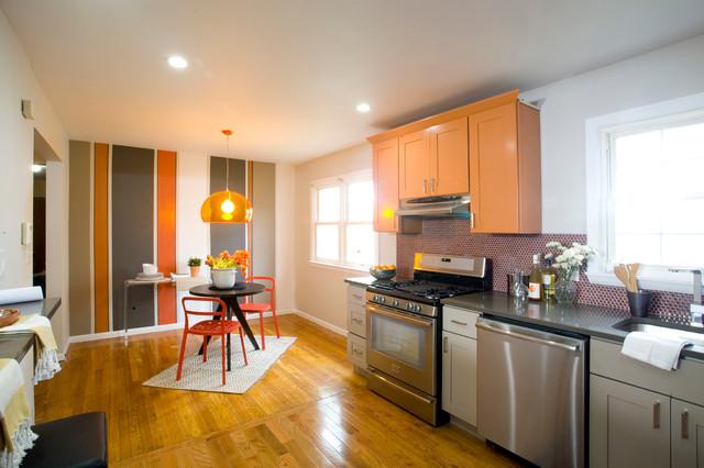房间欧式风格精装公寓时尚简约客厅大理石餐桌图片