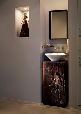 地中海风格室内酒店式公寓唯美一体式台盆图片