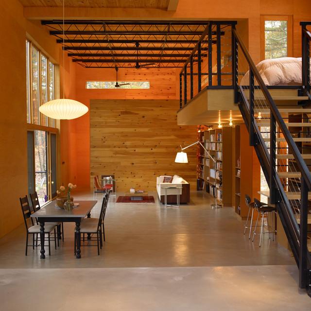 现代loft风格三层半别墅时尚简约原木色装修效果图