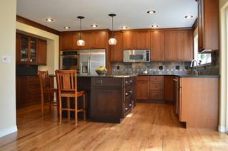 中式风格别墅三层别墅及简单温馨整体厨房设计